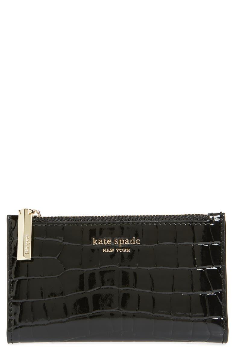 KATE SPADE NEW YORK sylvia croc embossed leather slim bifold wallet, Main, color, 001