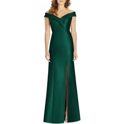 Alfred Sung Portrait Collar Satin Gown, Green