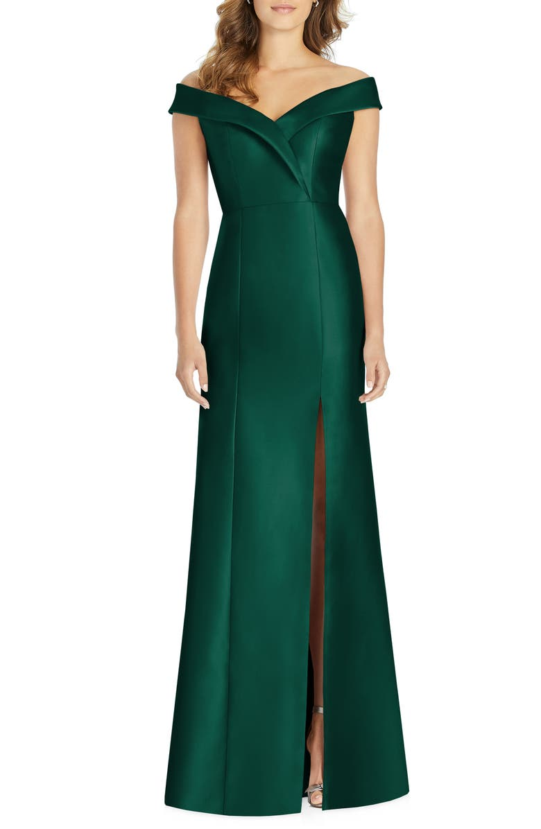 ALFRED SUNG Portrait Collar Satin Trumpet Gown, Main, color, HUNTER