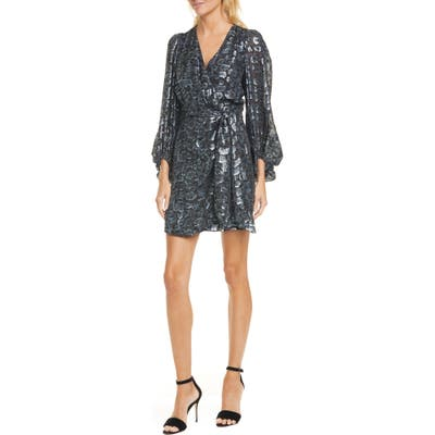 Ba & sh Ginger Long Sleeve Wrap Minidress, Blue