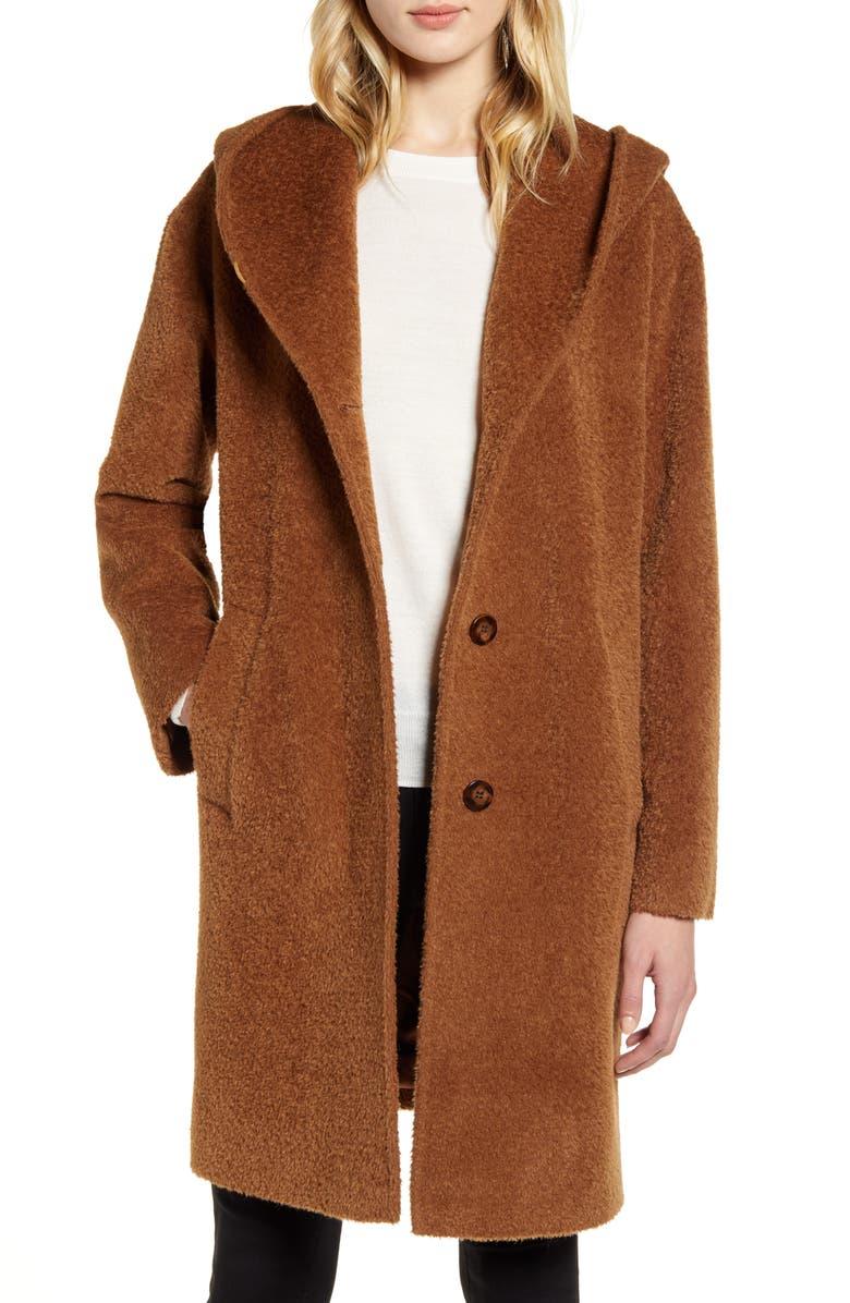 HISO Wool & Alpaca Blend Hooded Coat, Main, color, 200