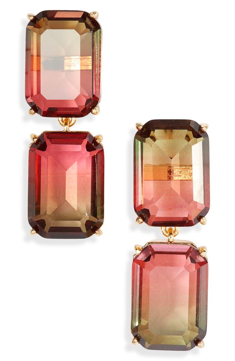 KATE SPADE NEW YORK geo gems double drop earrings, Main, color, PINK MULTI
