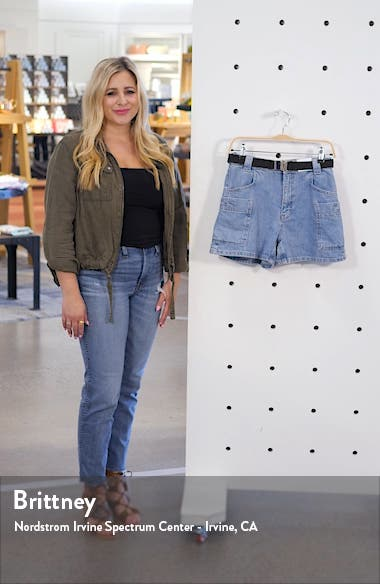 Belted High Waist Denim Utility Shorts, sales video thumbnail