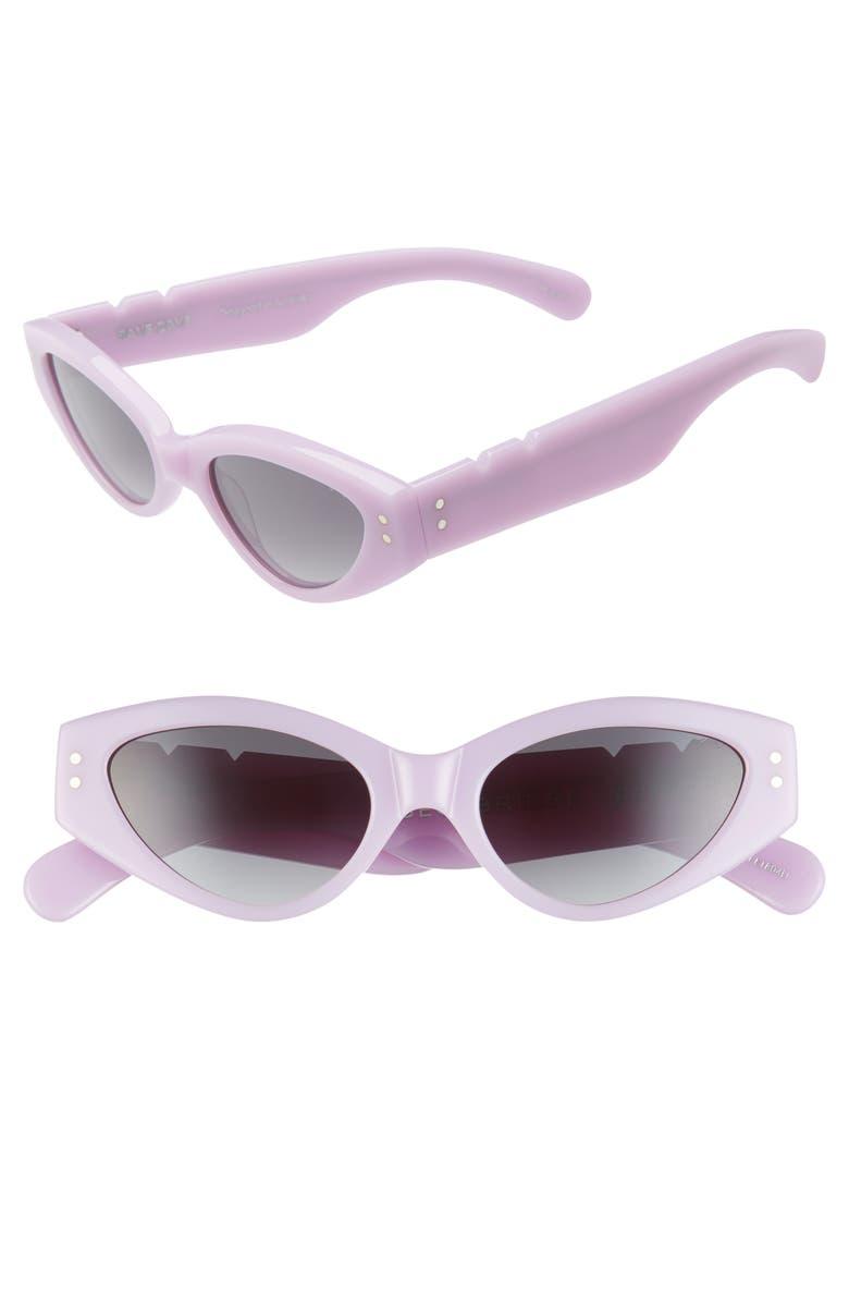 PARED x Bec + Bridge Rave Cave 49mm Cat Eye Sunglasses, Main, color, LILAC/ GREY GRADIENT