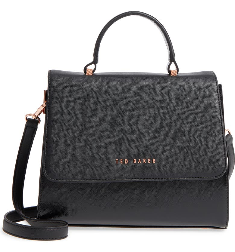 TED BAKER LONDON Small Hilaryy Faux Leather Satchel, Main, color, 001