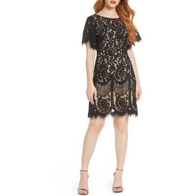 Lulus Pearson Short Sleeve Lace Cocktail Minidress, Black