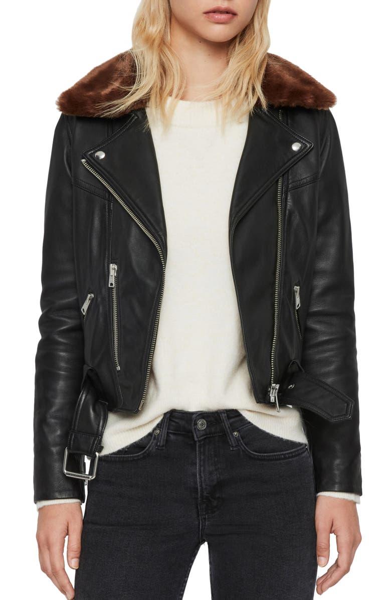 ALLSAINTS Rigby Lux Removable Faux Fur Collar Leather Biker Jacket, Main, color, 001