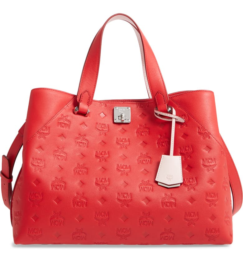 MCM Large Essential Monogram Leather Tote, Main, color, VIVA RED