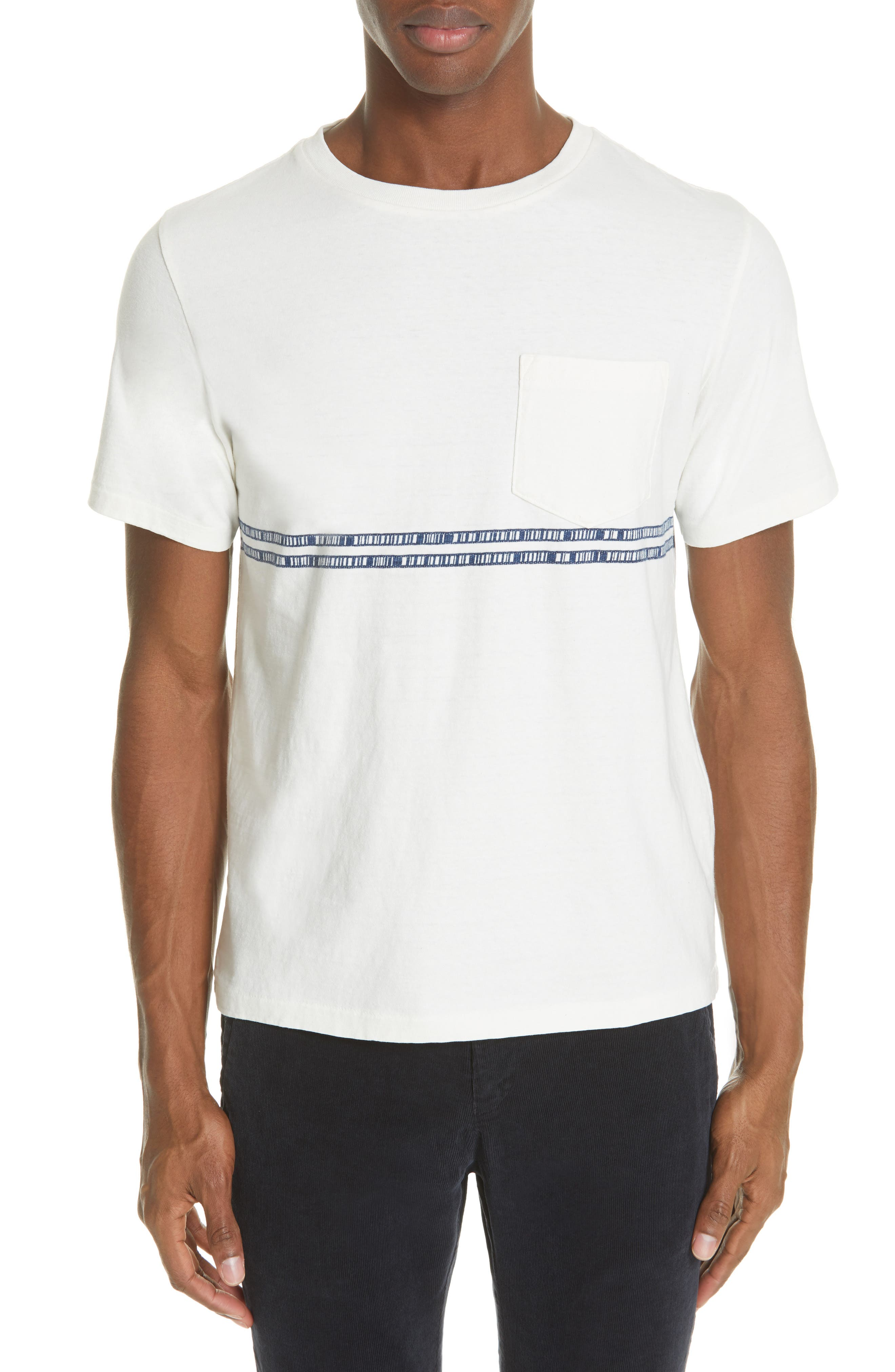 Embroidered Stripe T-Shirt, Main, color, 100