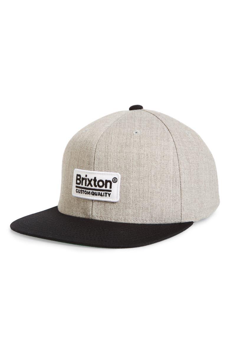 BRIXTON Palmer Flat Brim Baseball Cap, Main, color, LIGHT HEATHER GREY/BLACK
