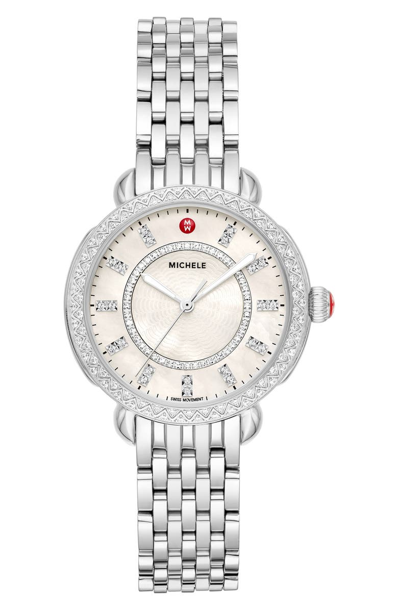 MICHELE Sidney Classic Diamond Watch Head & Interchangeable Bracelet, 33mm, Main, color, SILVER/ WHITE MOP/ SILVER