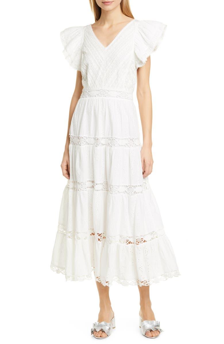 SEA Lea Eyelet & Lace Cotton Midi Dress, Main, color, 100