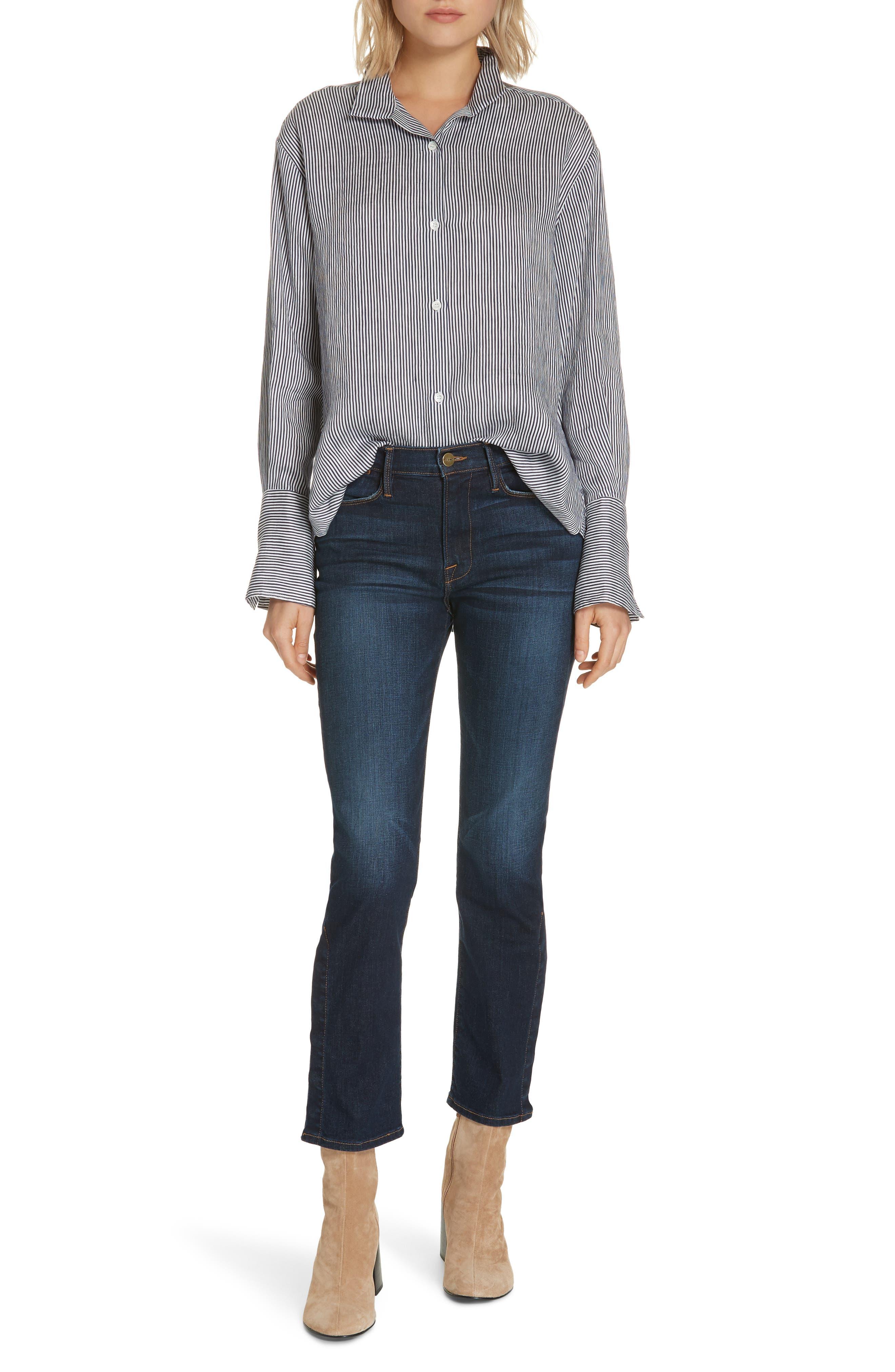,                             Le High Straight Snap Away Hem Jeans,                             Alternate thumbnail 8, color,                             401