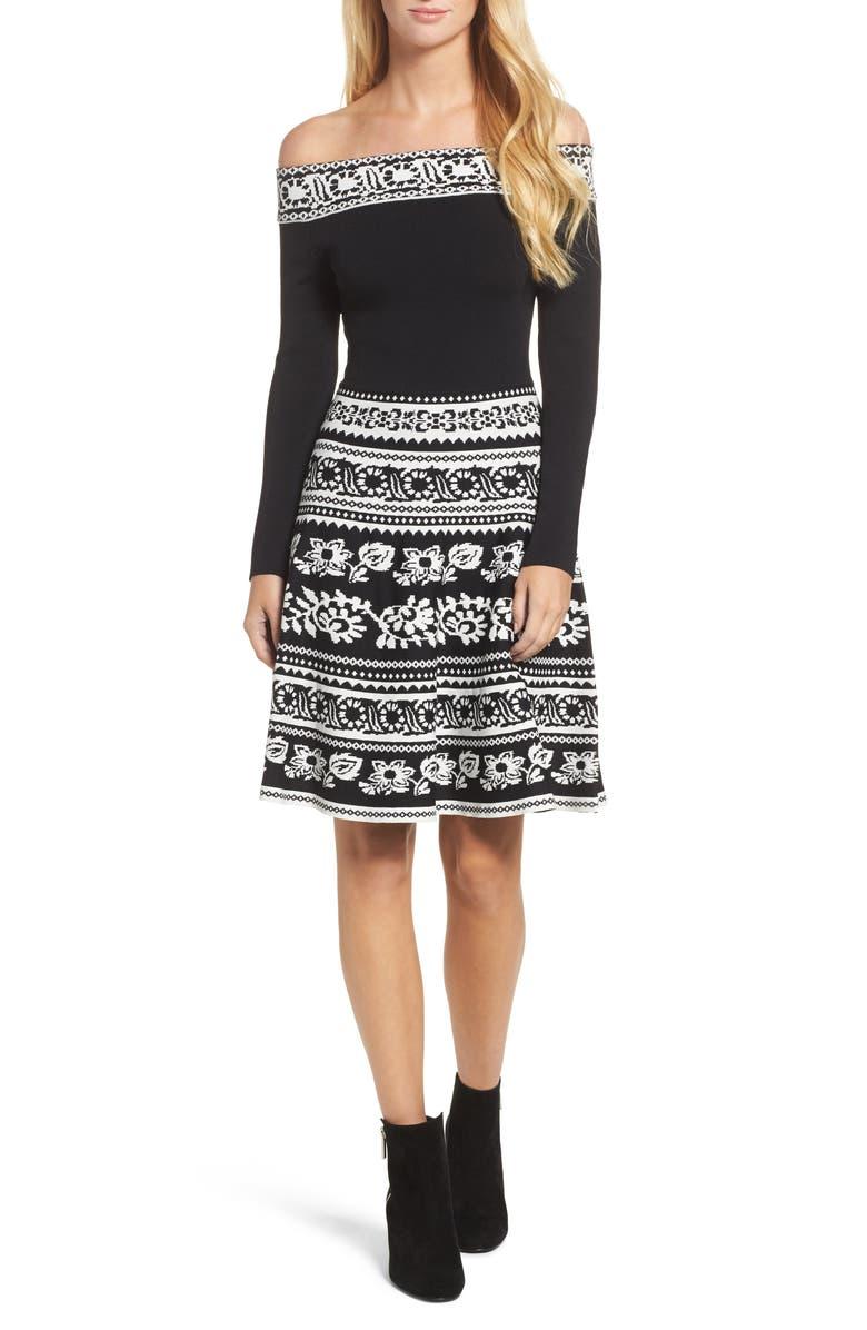 ELIZA J Pattern Off the Shoulder A-Line Knit Dress, Main, color, 012