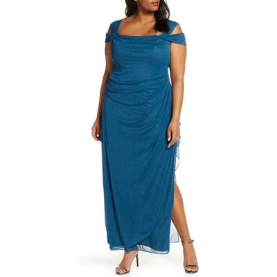 Plus Size Alex Evenings Cold Shoulder Sheath Gown, Blue/green