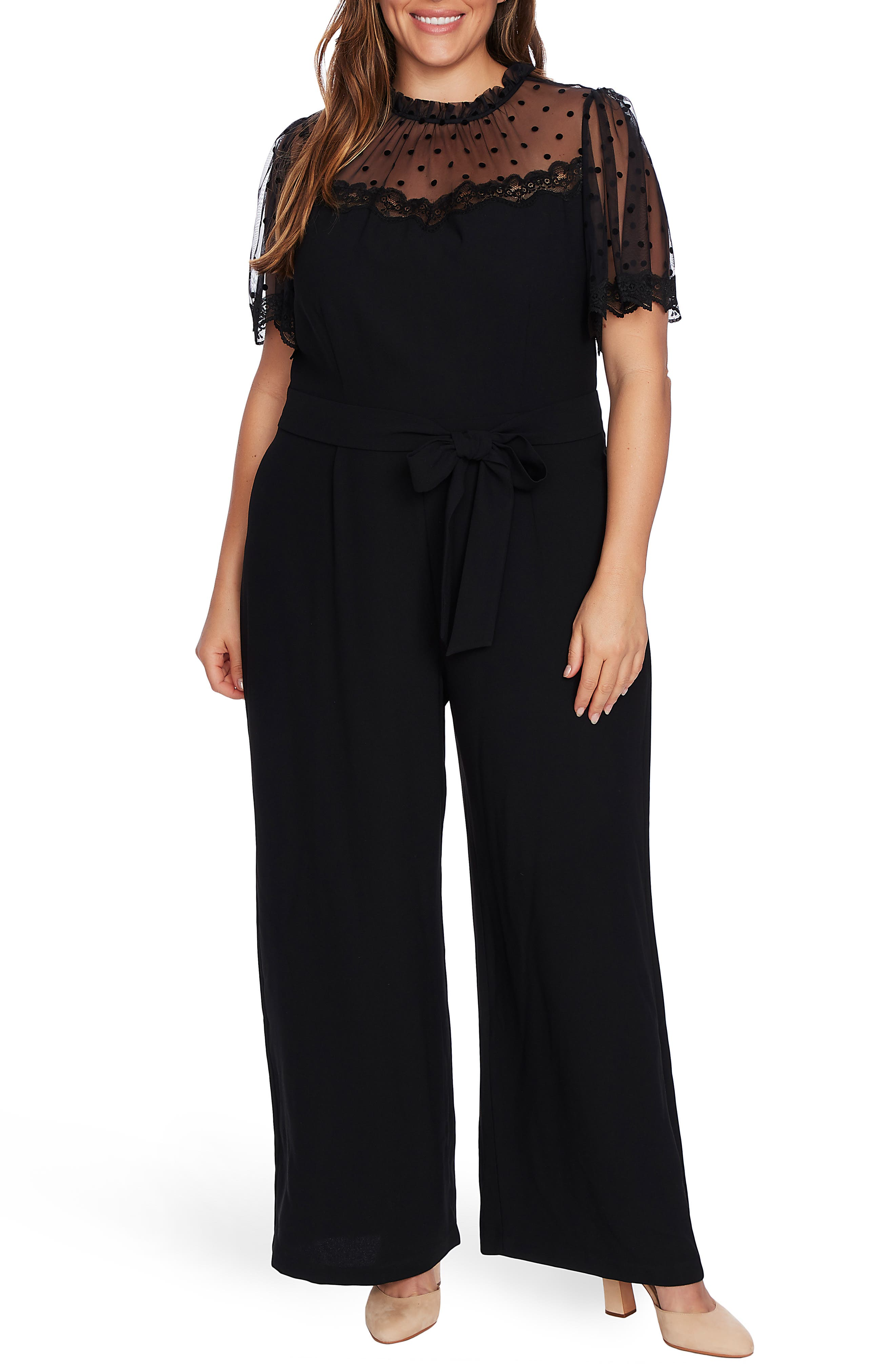 1940s Plus Size Fashion: Style Advice from 1940s to Today Plus Size Womens Cece Velvet Dot Sheer Yoke Jumpsuit $149.00 AT vintagedancer.com