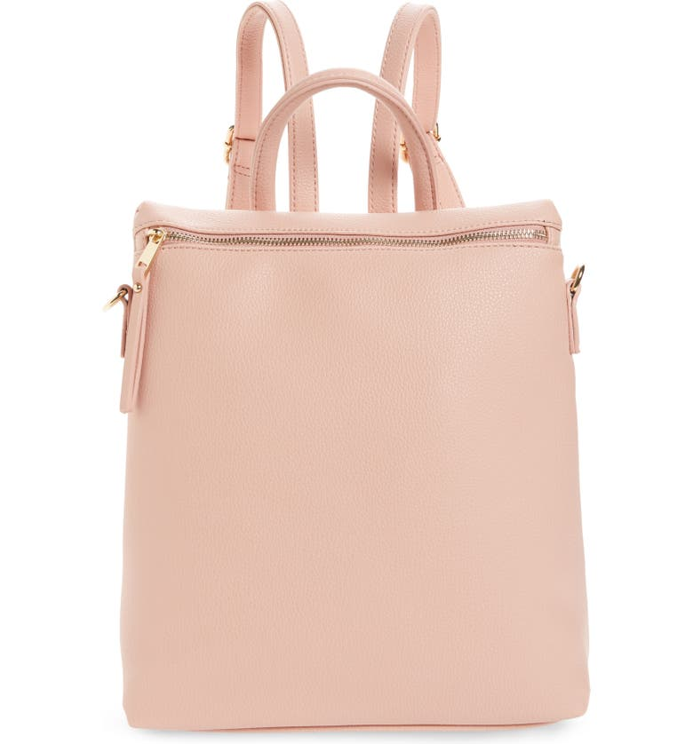 BP. Square Faux Leather Backpack, Main, color, PINK DAWN