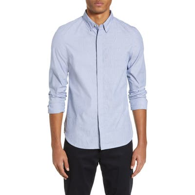 French Connection Microstripe Slim Fit Shirt, Blue