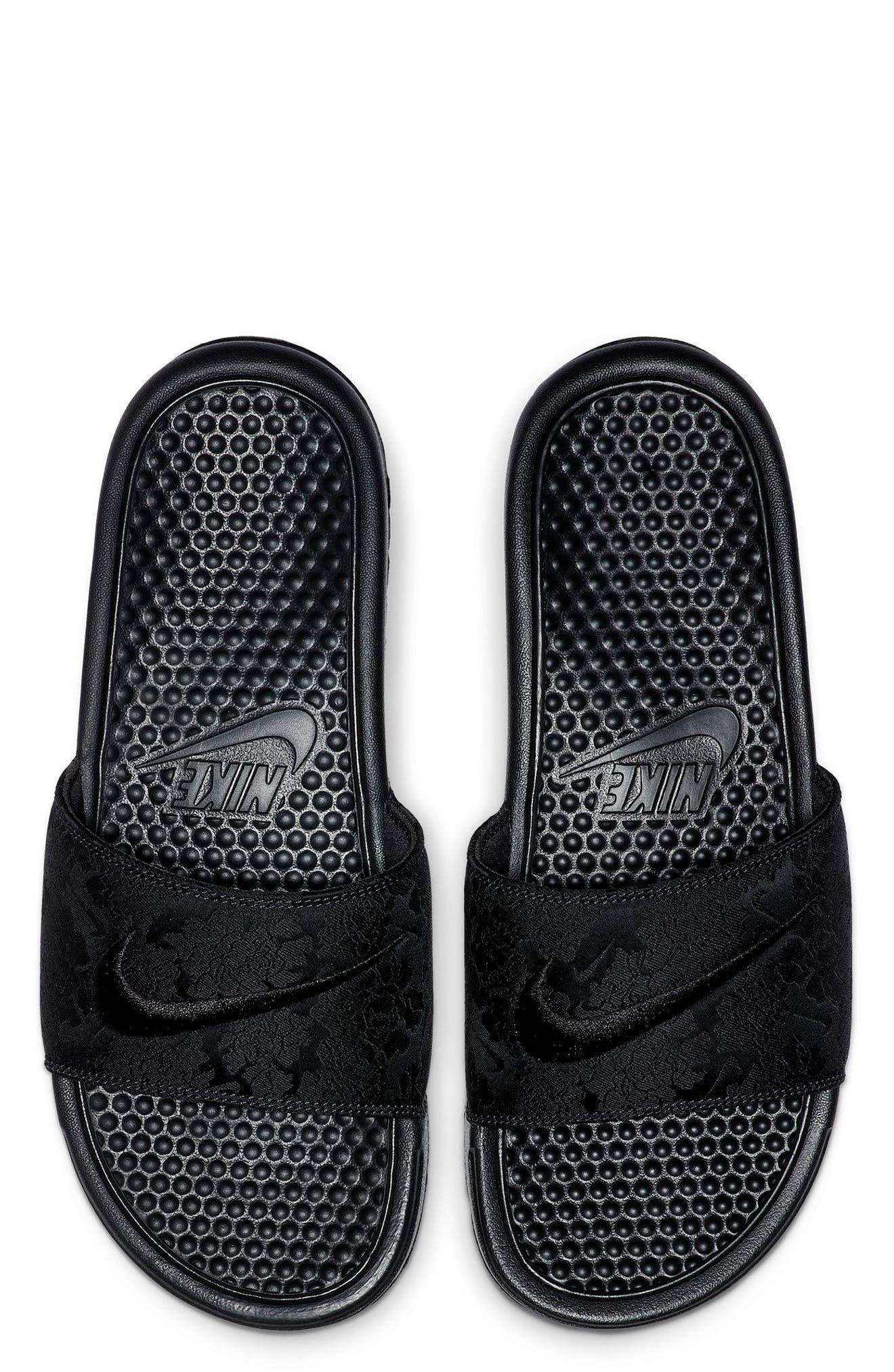 ,                             Benassi JDI Textile SE Slide Sandal,                             Main thumbnail 1, color,                             BLACK/ BLACK/ OIL GREY
