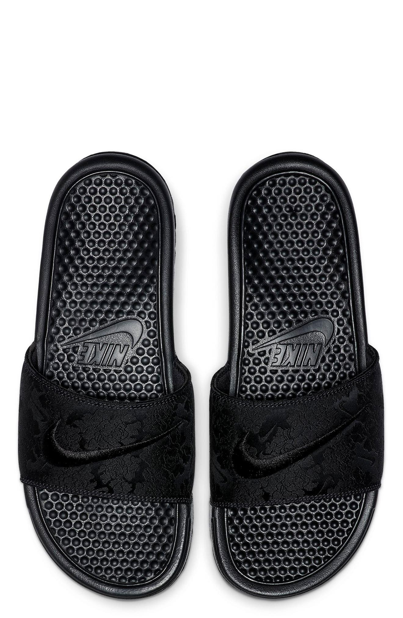 Benassi JDI Textile SE Slide Sandal, Main, color, BLACK/ BLACK/ OIL GREY