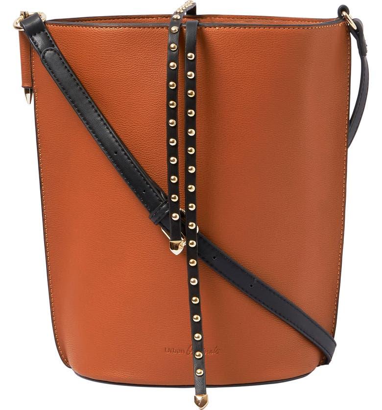 URBAN ORIGINALS Lights Camera Studded Vegan Leather Bucket Bag, Main, color, WHISKY
