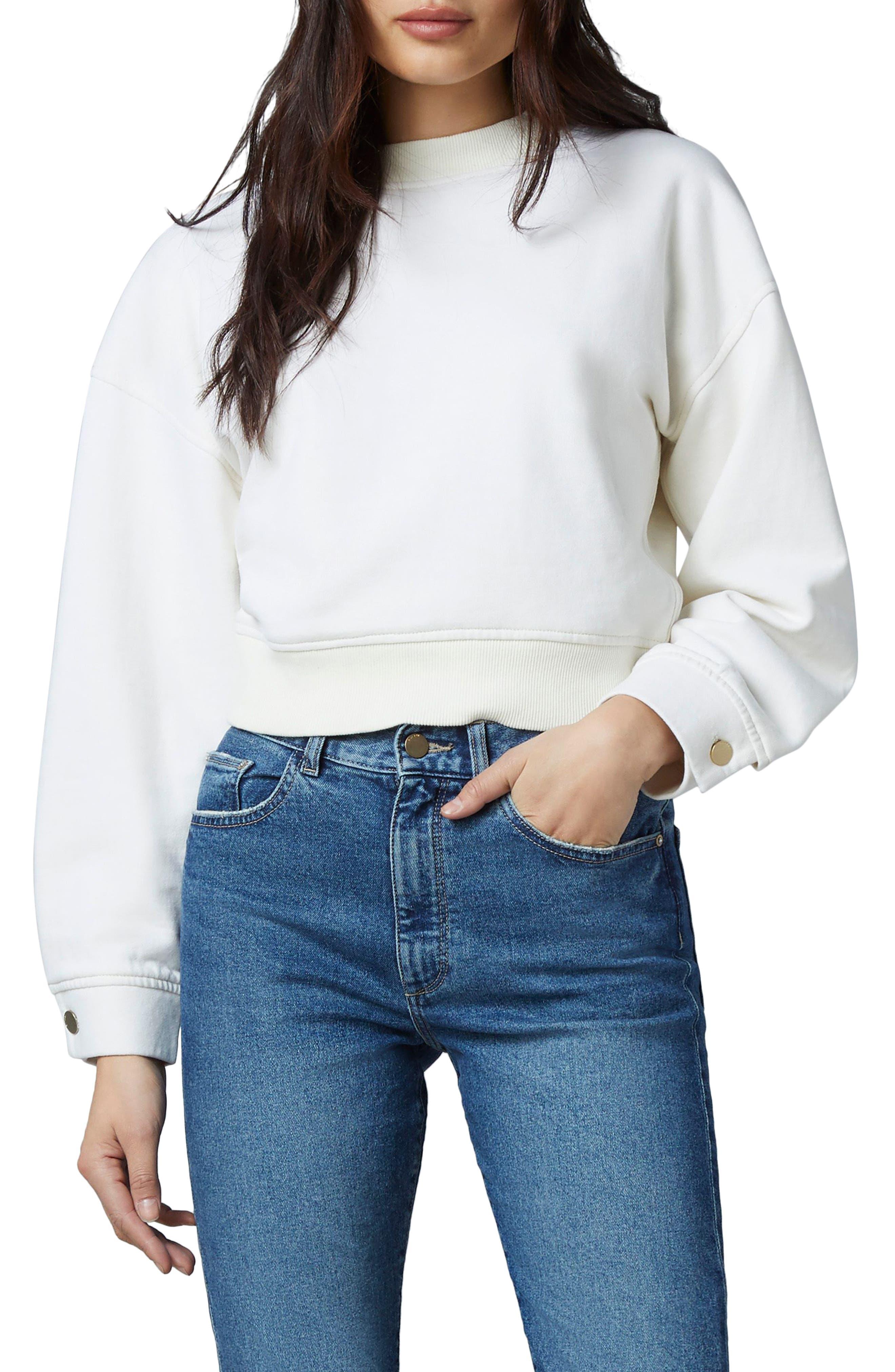 1961 Button Cuff Crop Sweatshirt
