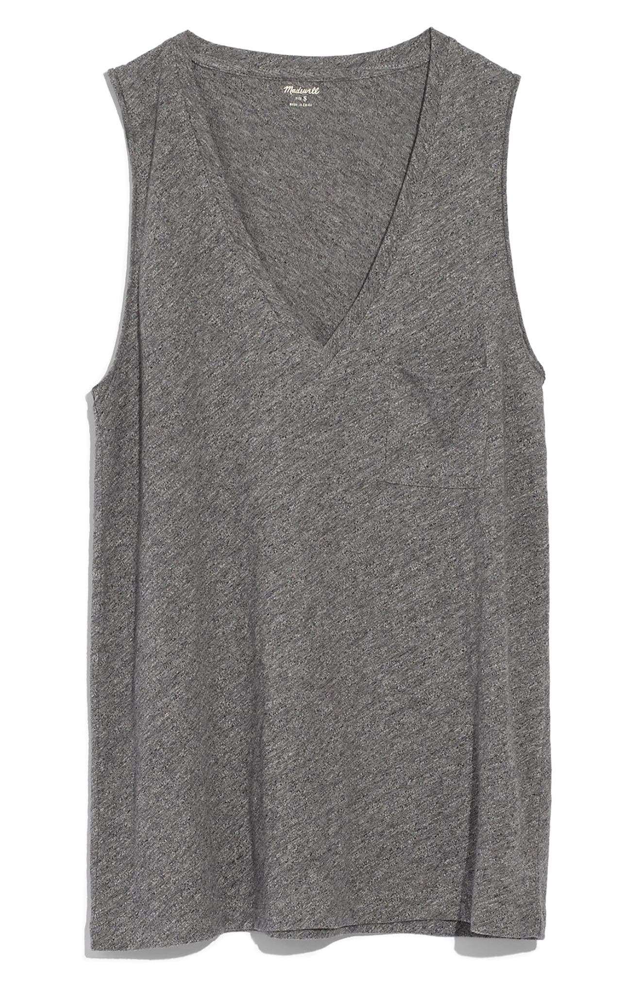 Whisper Cotton V-Neck Tank, Main, color, HEATHER MERCURY