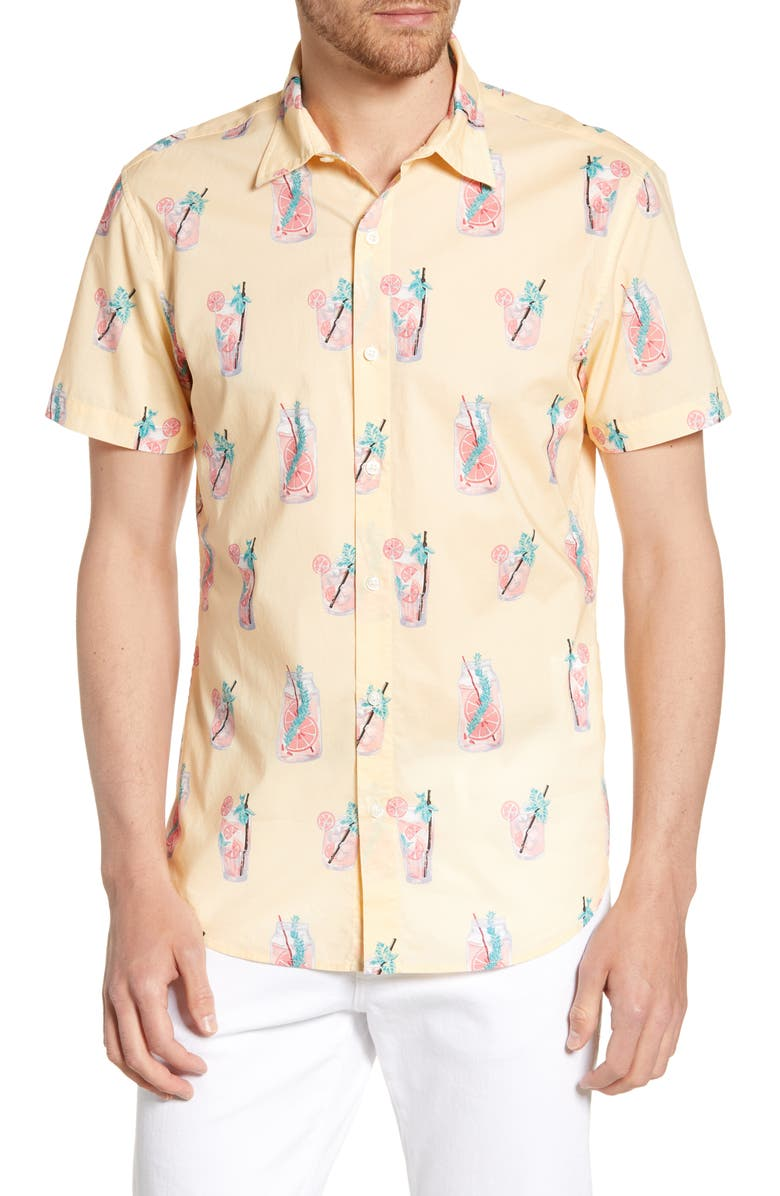 BONOBOS Riviera Slim Fit Lemonade Print Shirt, Main, color, LEMONADE