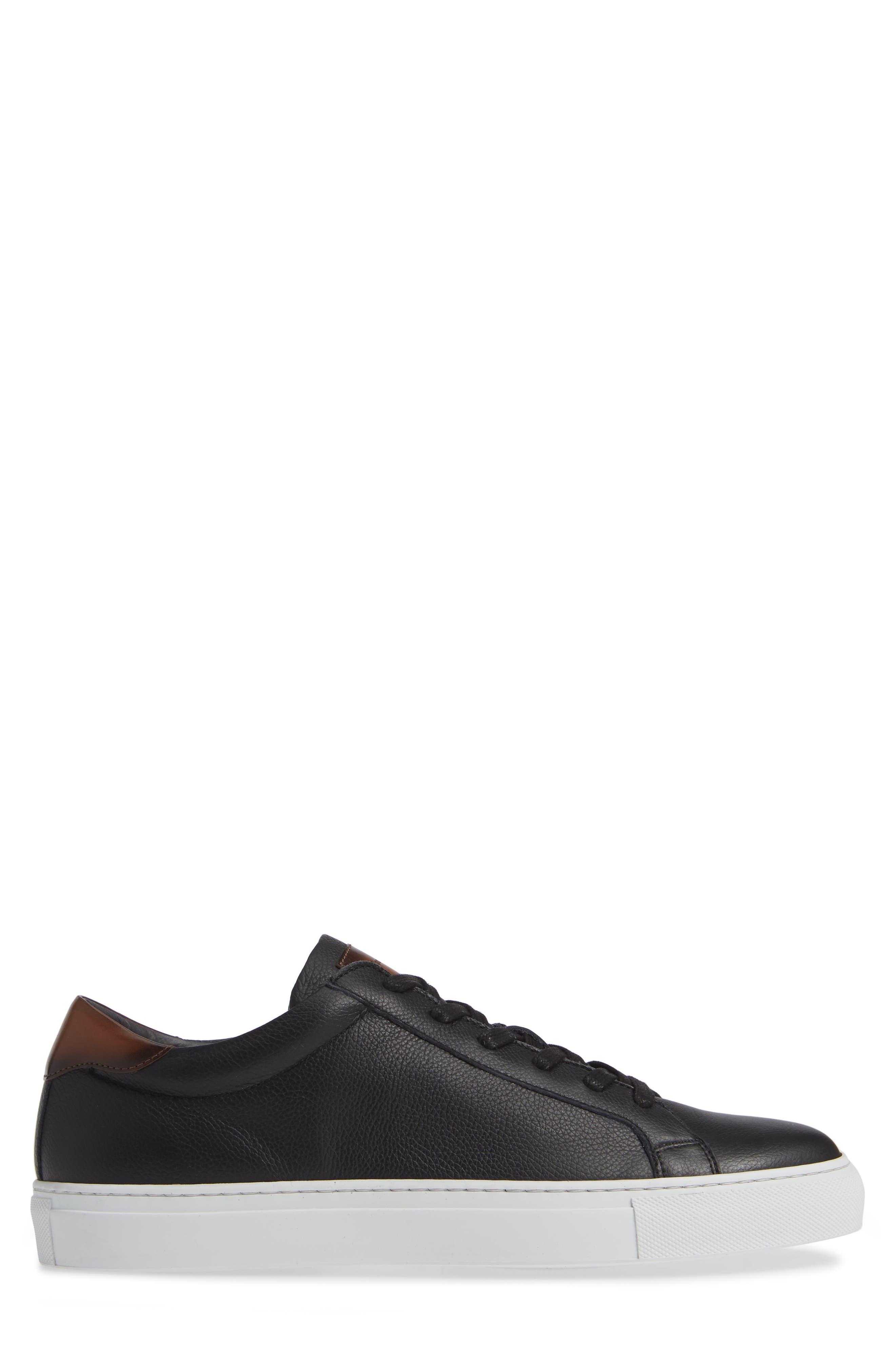 ,                             Knox Low Top Sneaker,                             Alternate thumbnail 3, color,                             BLACK/ TAN LEATHER