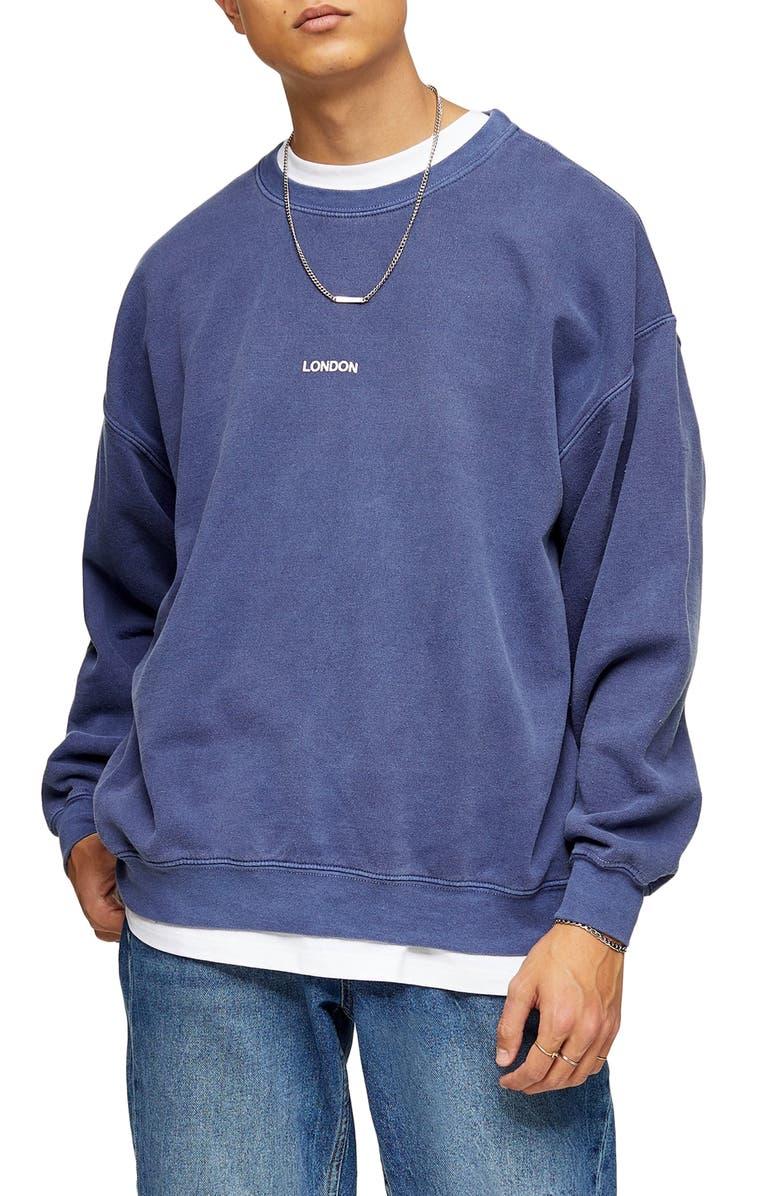 TOPMAN London Puff Print Oversize Sweatshirt, Main, color, NAVY BLUE