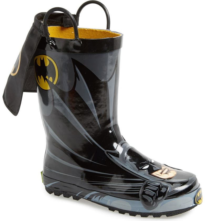WESTERN CHIEF Batman Everlasting Waterproof Rain Boot, Main, color, BLACK/ BLACK
