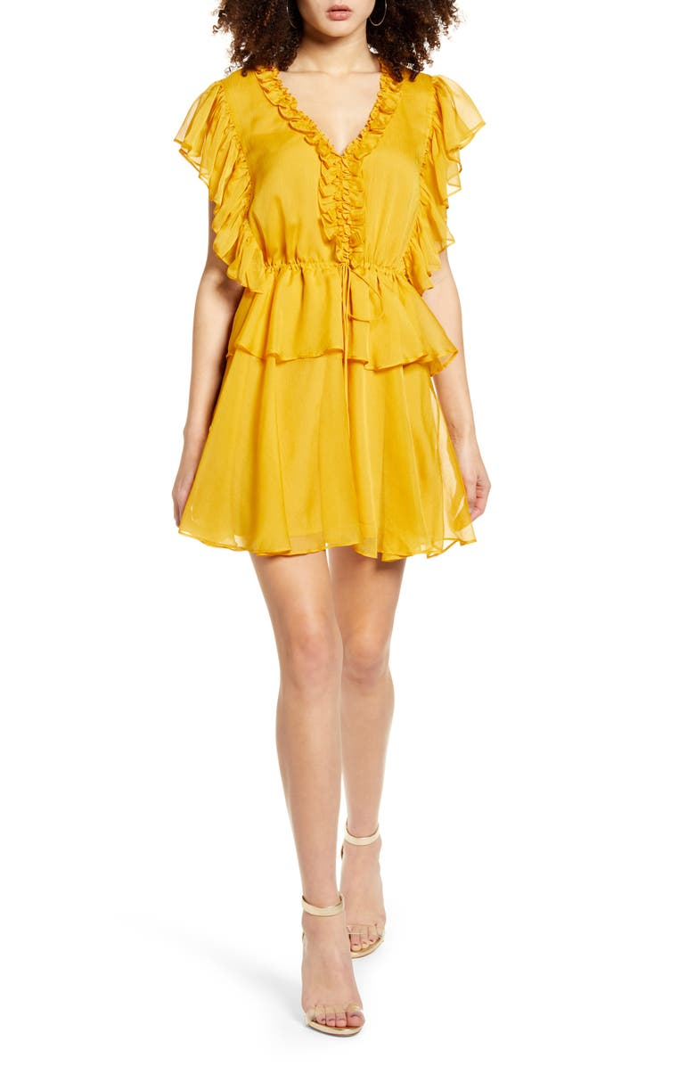 ENDLESS ROSE Ruffle Sleeve Tiered Minidress, Main, color, 700