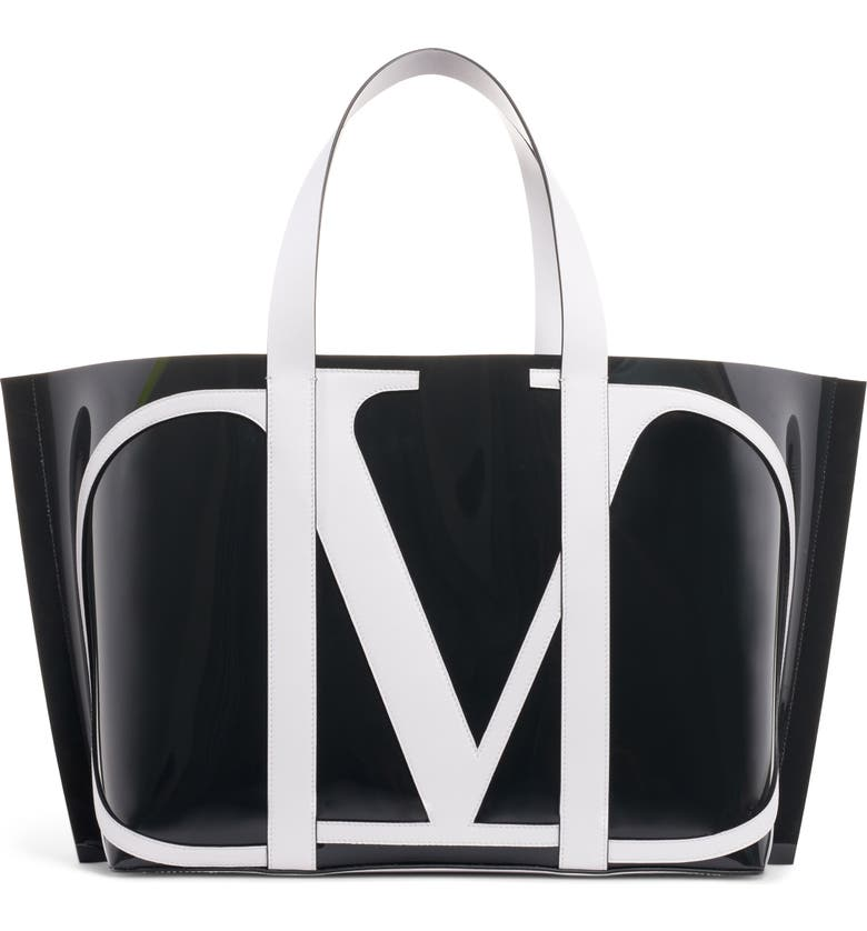 VALENTINO GARAVANI Large Escape V-Logo Tote, Main, color, NERO-BIANCO OTTICO/ ROUGE PUR
