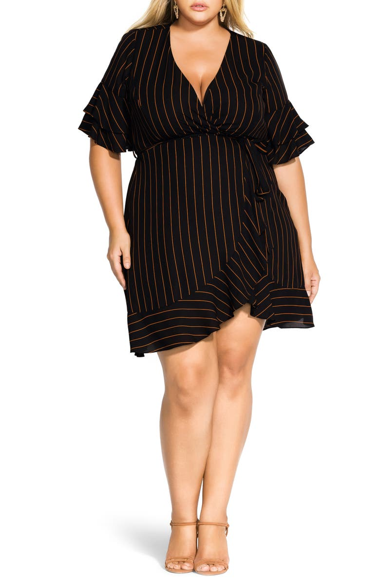 CITY CHIC Golden Stripe Wrap Front Dress, Main, color, GOLDEN STRIPE