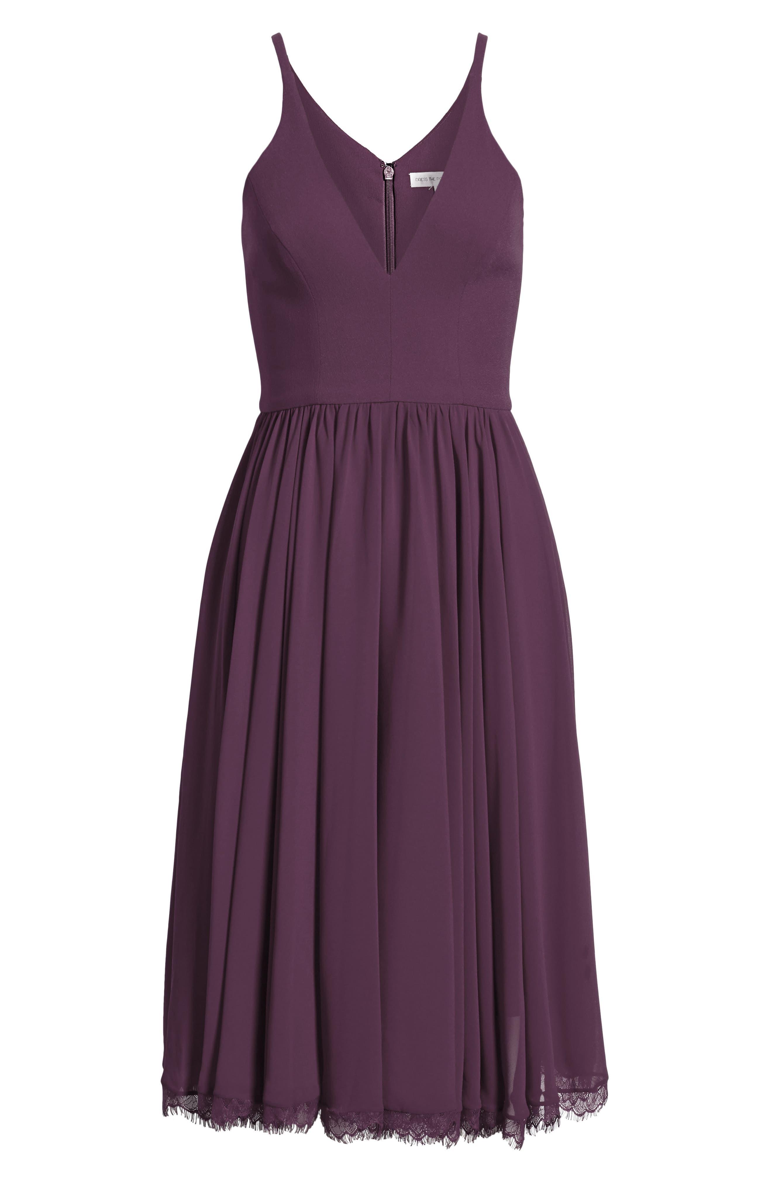 ,                             Alicia Mixed Media Midi Dress,                             Alternate thumbnail 6, color,                             PLUM