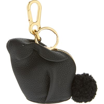 Loewe Bunny Bag Charm With Genuine Shearling - Black