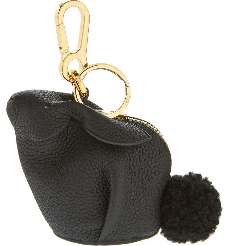 LOEWE Bunny Bag Charm with Genuine Shearling, Main, color, BLACK