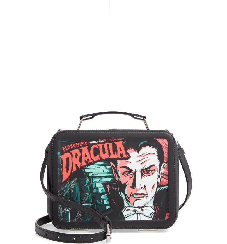 MOSCHINO x Universal Dracula Faux Leather Lunchbox Bag, Main, color, FANTASY PRINT BLACK