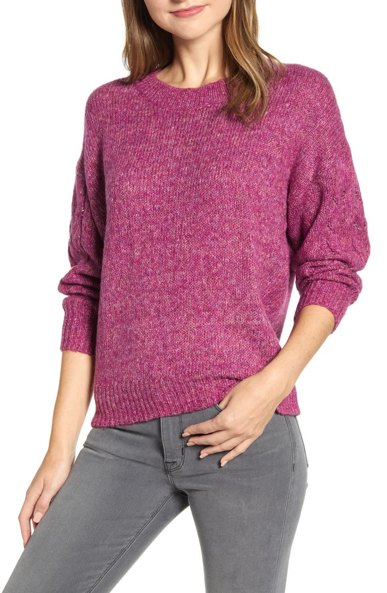 WIT & WISDOM Cable Sleeve Marled Sweater, Main, color, RARO RASPB