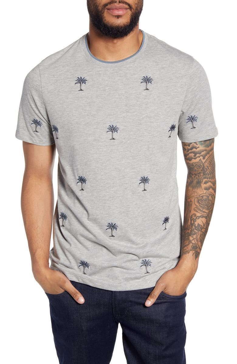 TED BAKER LONDON Coconut Slim Fit Embroidered Palm Tree T-Shirt, Main, color, GREY MARL