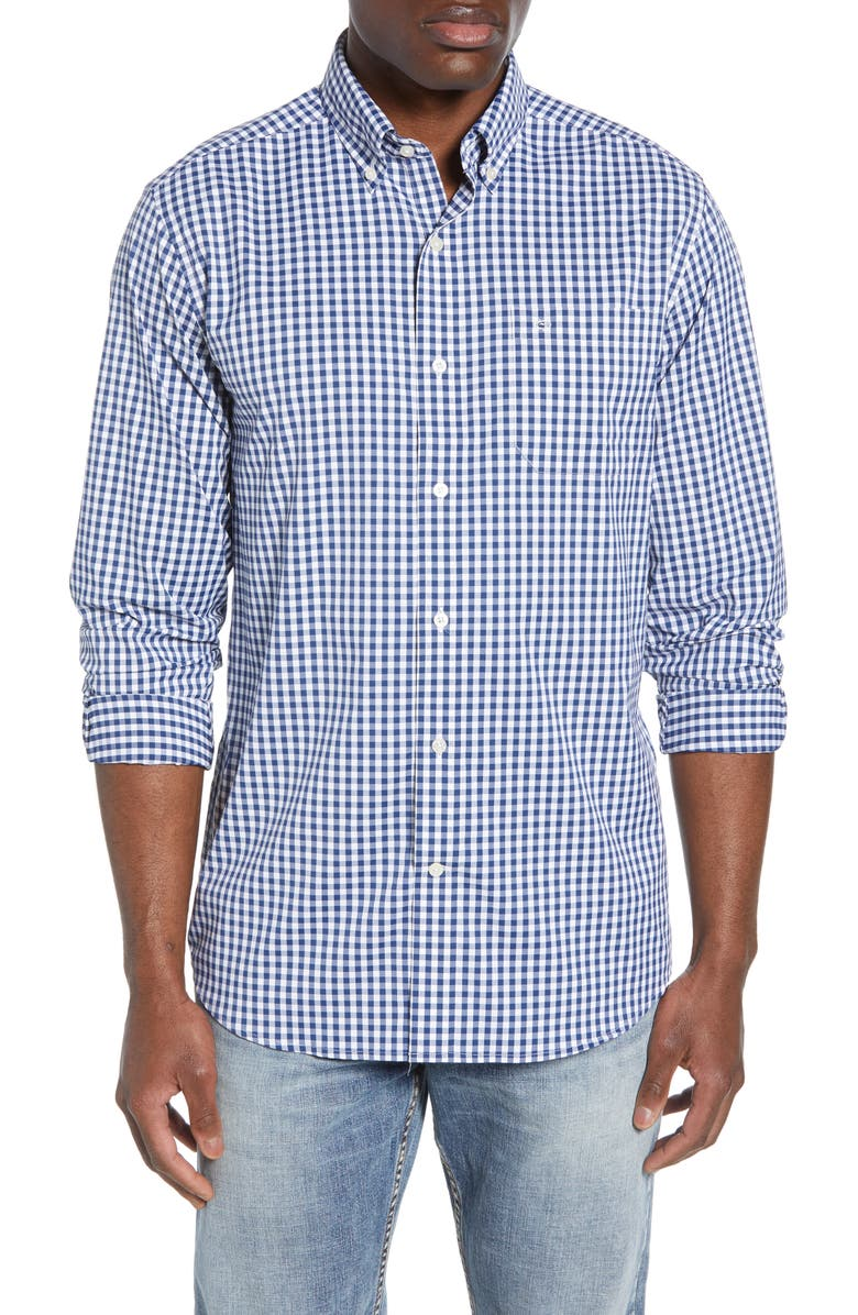 SOUTHERN TIDE Gingham Intercoastal Regular Fit Performance Shirt, Main, color, YACHT BLUE
