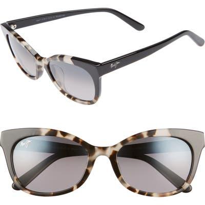 Maui Jim Ilima 5m Polarizedplus2 Cat Eye Sunglasses - White Tokyo/ Gloss Black