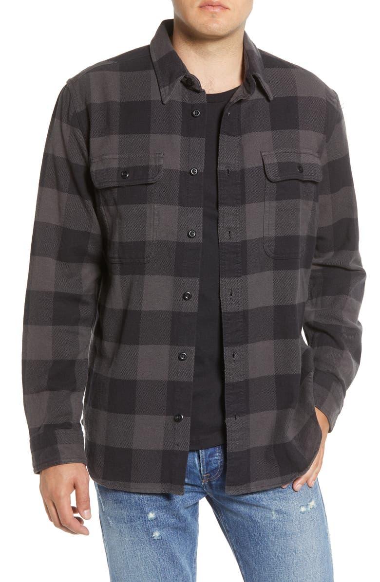 FILSON 'Vintage Flannel' Regular Fit Plaid Cotton Shirt, Main, color, BLACK CHARCOAL CHECK
