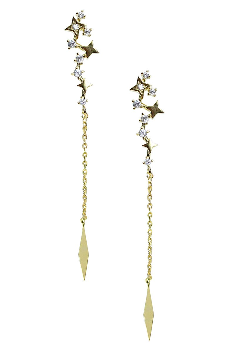 JULES SMITH Dancing Star Linear Earrings, Main, color, GOLD/ CLEAR