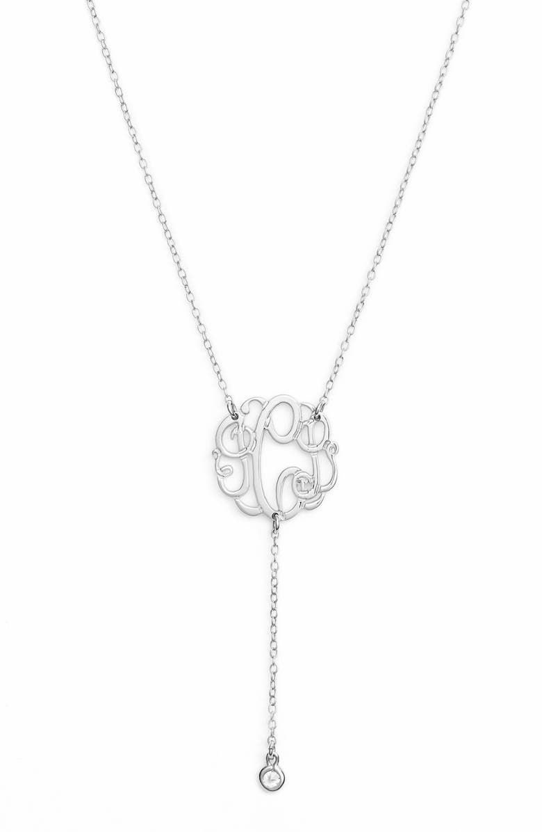 ARGENTO VIVO Personalized Three Initial Y-Necklace, Main, color, SILVER