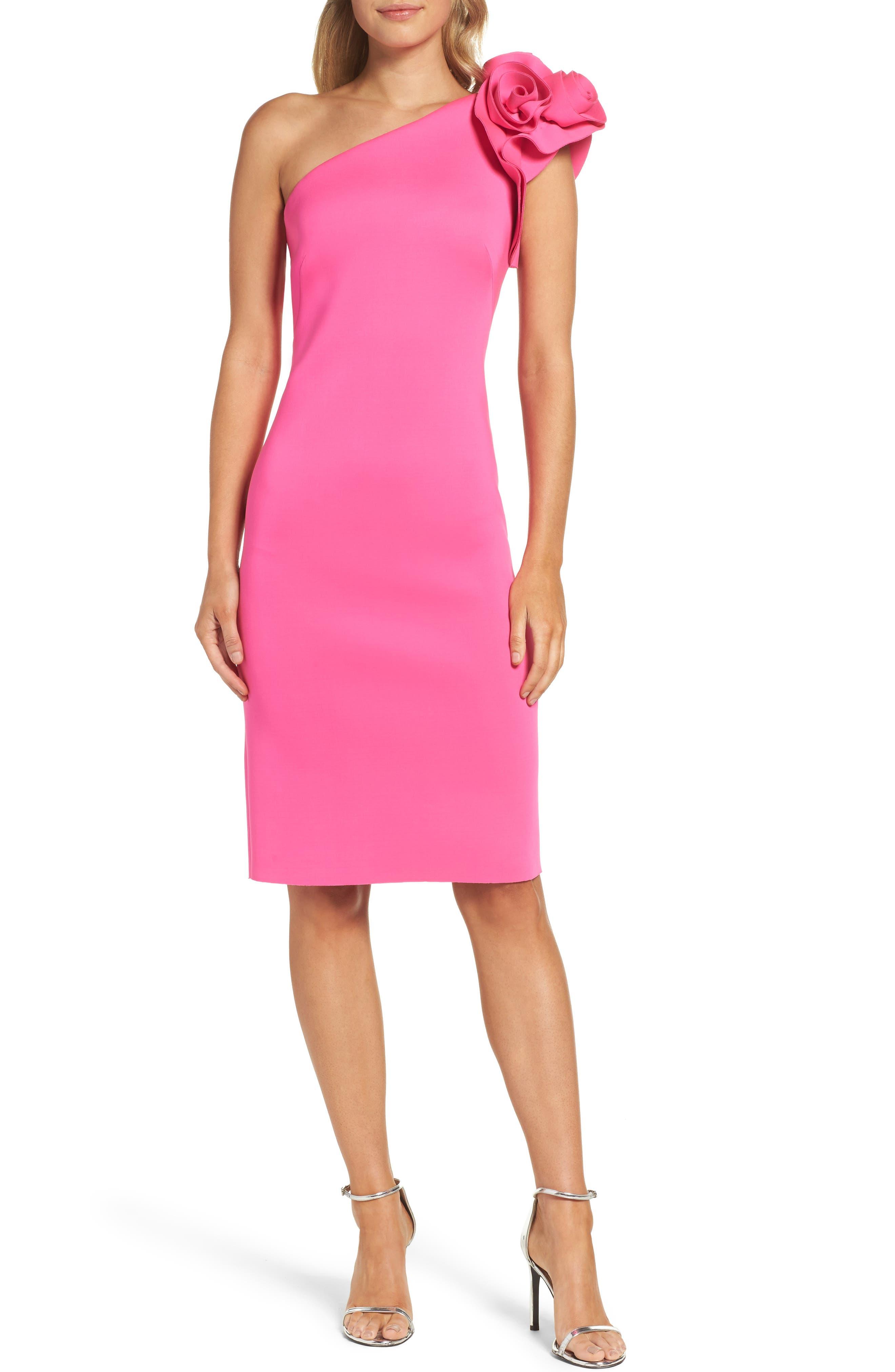 Eliza J One-Shoulder Sheath Dress, Pink