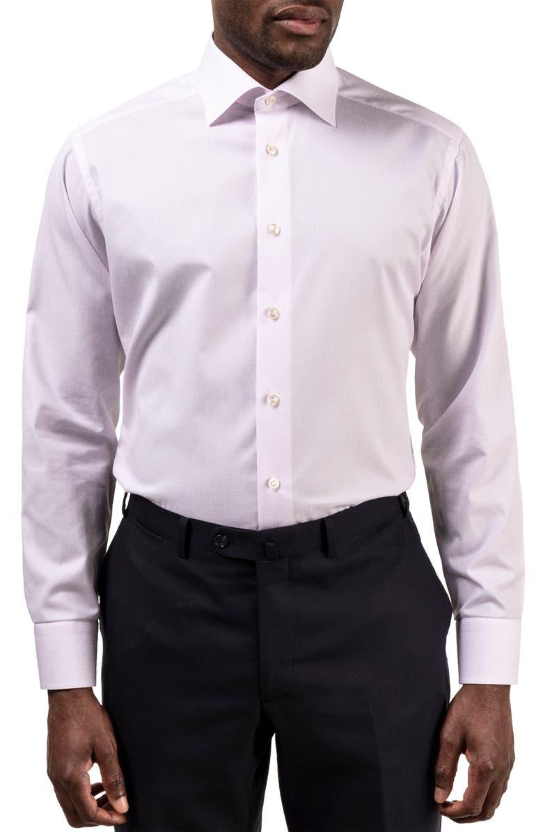 ETON Slim Fit Textured Dress Shirt, Main, color, PINK/ RED