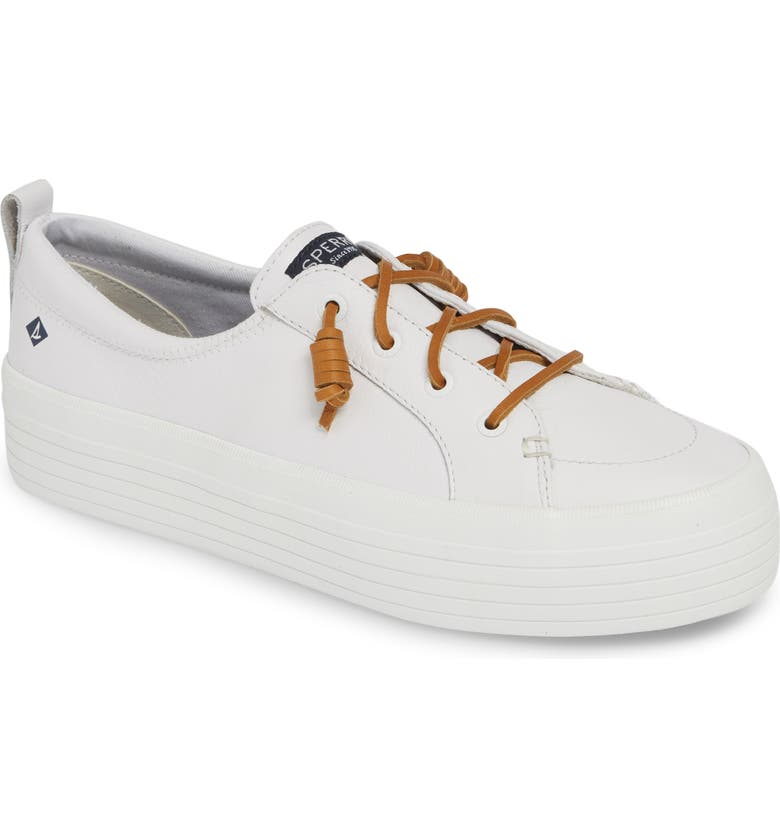 SPERRY Crest Vibe Platform Sneaker, Main, color, WHITE/ TAN LEATHER