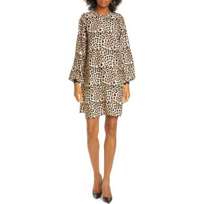 Atm Anthony Thomas Melillo Leopard Long Sleeve Silk Charmeuse Dress, Brown