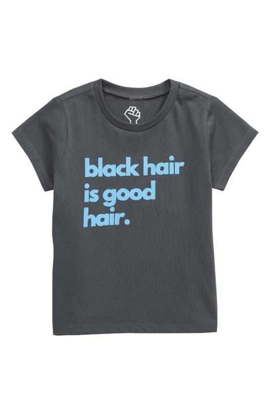 Typical Black Tees Babies' Kids' Black Hair Is Good Hair Graphic Tee In Charcoal